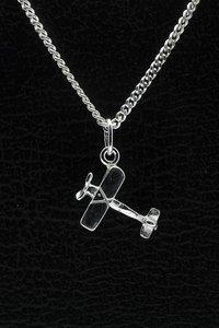 Zilveren Vliegtuig ketting hanger - dubbeldekker