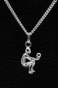 Zilveren Volleyballer ketting hanger