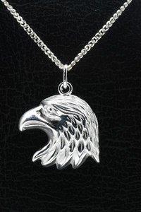Zilveren Arend ketting hanger - kop