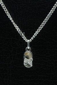 Zilveren Babyschoen ketting hanger