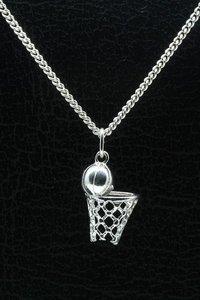 Zilveren Basketbal ketting hanger - met net