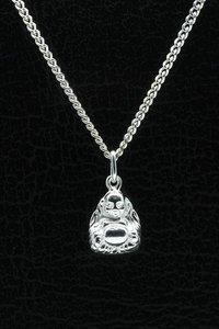 Zilveren boeddha ketting hanger - klein