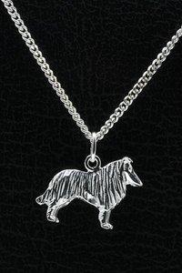 Zilveren Collie ketting hanger