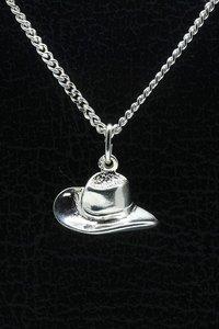 Zilveren Cowboyhoed ketting hanger