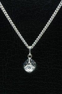 Zilveren Dobbelsteen ketting hanger - middel