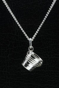 Zilveren Emmer ketting hanger