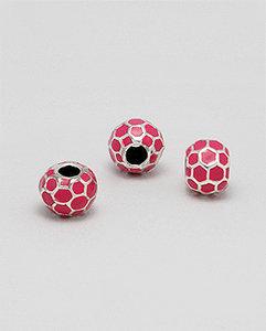 Zilveren emaille bead - deco donker roze