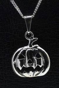 Zilveren Haloween pompoen ketting hanger