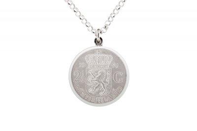 Zilveren 1 Rijksdaalder munt 1960 t/m 1966 in zilveren rand ketting hanger