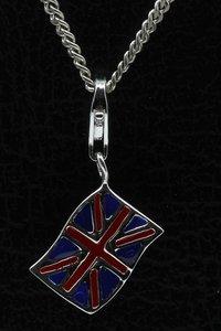 Zilveren Engelse vlag hanger en/of bedel