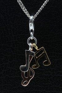 Zilveren Muzieknoten en muzieksleutel tricolour hanger en/of bedel