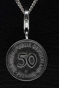 Zilveren 50 Pfennig Duitsland hanger en/of bedel
