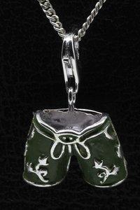 Zilveren Duitse lederhose groen hanger en/of bedel