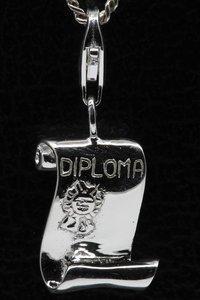 Zilveren Diploma hanger en/of bedel
