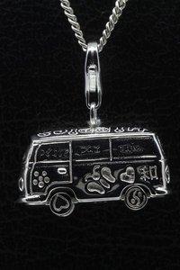 Zilveren Hippie bus draaiende wielen groot hanger en/of bedel