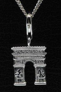 Zilveren Arc de Triomphe Parijs hanger én bedel