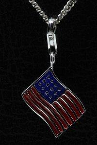 Zilveren Amerikaanse vlag USA Stars and stripes hanger én bedel