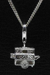 Zilveren Draaiorgel te openen hanger én bedel