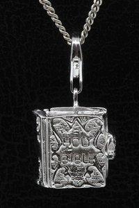 Zilveren Bijbel te openen 2 hanger én bedel