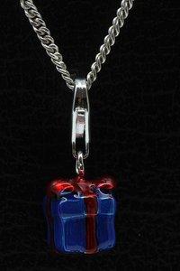 Zilveren Cadeau blauw hanger én bedel