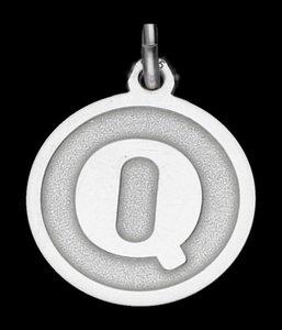Zilveren Letter Q rond mat-glans ketting hanger