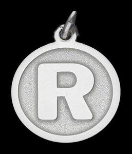 Zilveren Letter R rond mat-glans ketting hanger