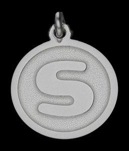 Zilveren Letter S rond mat-glans ketting hanger