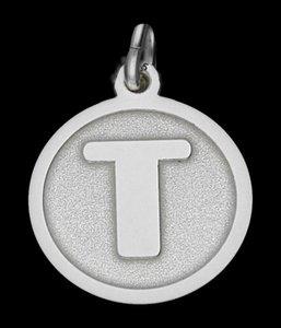 Zilveren Letter T rond mat-glans ketting hanger