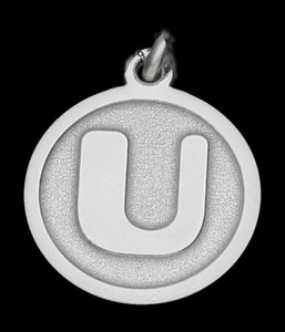 Zilveren Letter U rond mat-glans ketting hanger