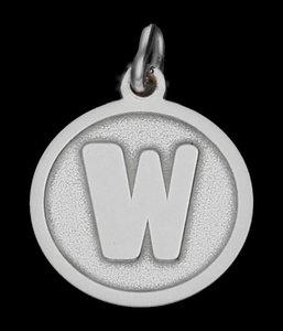 Zilveren Letter W rond mat-glans ketting hanger
