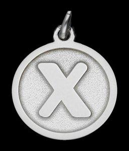 Zilveren Letter X rond mat-glans ketting hanger