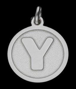 Zilveren Letter Y rond mat-glans ketting hanger