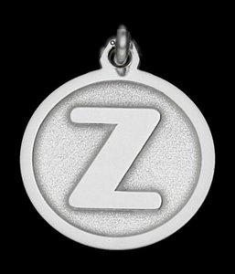 Zilveren Letter Z rond mat-glans ketting hanger